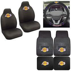 7pc Set Nba Los Angeles Lakers Seat Covers Floor Mats And Steering Wheel Cover ...