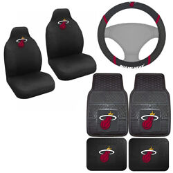 7pc Set Nba Miami Heat Car Truck Seat Covers Floor Mats And Steering Wheel Cover .