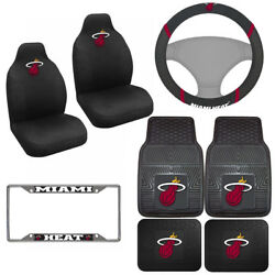 8pc Set Nba Miami Heat Car Truck Seat Covers Floor Mats And Steering Wheel Cover .