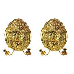 Pair 2 MOTTAHEDEH Double Baroque Repousse Brass Wall Sconces Candle Holders Lamp