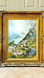 Stuart Forbes 19c British Original Watercolor Of Sheepherd And Sheepssigned