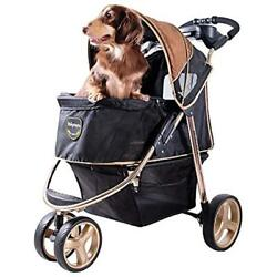3 Wheel Dog Stroller For Large Medium Dogs Cup Holders Aluminum Frame Holds To