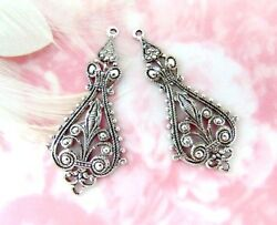 Antique Silver 2 Pieces Large Boho Earring Drops Filigree Stamping E-783