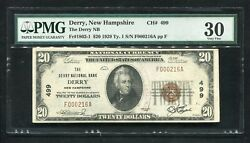 1929 20 The Derry National Bank Derry Nh National Currency Ch. 499 Pmg Vf-30