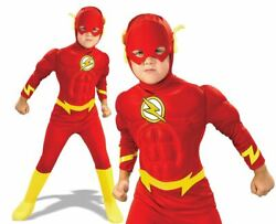 Official Child FLASH DELUXE MUSCLE CHEST Fancy Dress Costume Book Week Superhero