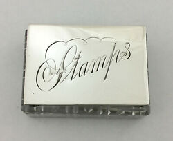 Antique Stamp Box Holder, Solid Silver And Glass