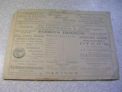 1890's Fennimore Times Score Card Mineral Point Vrs Boscobel Wi Great Early Ads