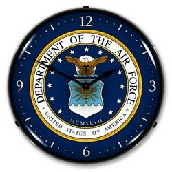 Military Usaf United States Air Force Game Room Man Cave Led Lighted Wall Clock