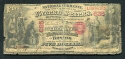 1875 5 Tremont National Bank Of Boston, Ma National Currency Ch. 625 Unique