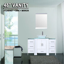 48 White Bathroom Vanity Cabinet Sink Combo Glass Top W/ Mirror Faucet Drain
