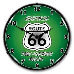 Historic Route 66 The Mother Road Rt 66 Backlit Led Lighted Wall Clock Green New