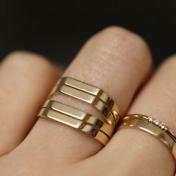 Wide Ring Band 14k Solid Gold Thick Band Midi Ring Antique Vintage Style