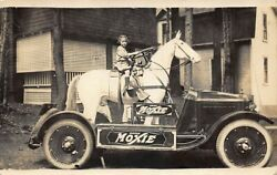 Moxie Automobile Horse Sterring Wheel Girl Driver Real Photo Postcard