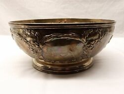 Antique Sterling Silver Je Caldwell Bowl Fruit Basket Repousse Country Scene