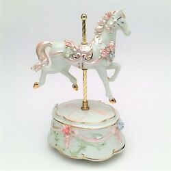 Baby Pink Carousel Horse Music Box, Plays 'the Carousel Waltz' - Factory New