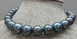 Huge 1813-17mm Natural South Sea Genuine Black Gray Round Pearl Necklace 08aaa