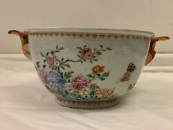 Antique Chinese Export Porcelain Famille Rose Two Handled Tureen, Circa 1760