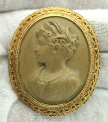 Vintage Antique Lava Stone Lady Cameo Brooch/pin 48mm X 40mm 16.8 Gram