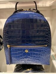 NWT! WOMEN'S TORY BURCH 50702 CROC EMBOSSED Navy Blue LEATHER MINI BACKPACK