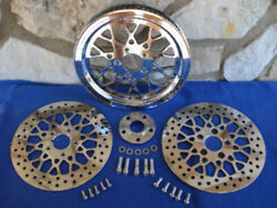 For Harley Flst Softail Deluxe 2007-up Mesh 66 Tooth Pulley Brake Rotor Kit