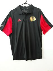 Adidas Chicago Blackhawks Men's Authentic Game Day Polo Nhl Climachill Shirt 80