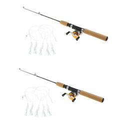 2pcs Ultralight Fishing Rod And Reel Line Combo 65cm For Travel Ice Fishing