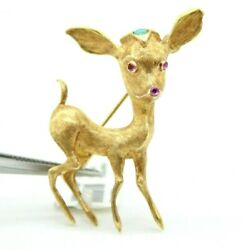Vintage Retro 18k Yellow Gold Baby Deer Pin Brooch With Ruby And Turquoise Stones