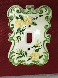 Set 8 Ceramic Light Covers Switch Plates FLORAL Vtg  Switchplates Hand Painted
