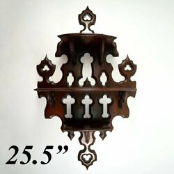 Antique French 25.5 Tall Wall Shelf 3-tier Display Beveled Carved Wood