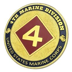U.s. United States Marine Corps Usmc 4th Marine Division Gold Plated Coin