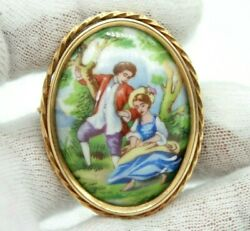 Limoges Vintage Antique 18k Yellow Gold Ceramic Pin Brooch Made In France