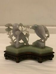 Antique Chinese Lavender And Green Jade Birds, Circa 1900