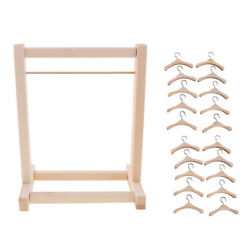 For Blythe Dolls 1/6 Bjd Doll Wooden Clothes Hanging Shelf Clothes Hangers
