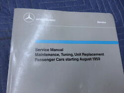 Mercedes 190sl Genuine Factory Service Manual Starting August 1959 Nice