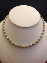 Stunning 14k Gold Tri-color Solid Gold Bead Necklace 16andrdquo