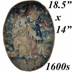Antique French C1600s Fine Needlepoint Louis Xiv Tapestry Frame Or Throw Pillow