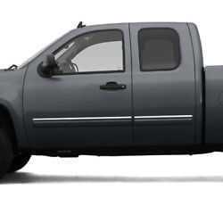 Side Molding Trim For 07-13 Gmc Sierra Extended Cab Stainless Steel 4pc Upper