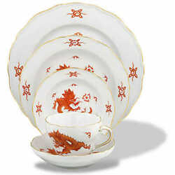 Ming Dragon Red By Meissen Fine China Brand New 5 Piece Place Setting