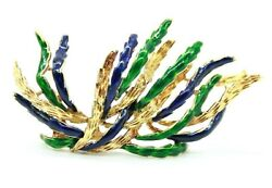 Vintage Retro 18k Yellow Gold Green And Blue Enamel Form Of A Plant Pin Brooch