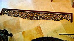 Antique 18-19c Chinese Wood Carved Piersed Gilt Temple Panel Floral Motif 75l