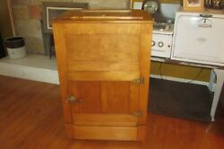 Antique Hard Maple Wallace Manufacturing Co. Ice Box Refrigerator Rare 1001