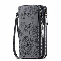 Hawee Cellphone Wallet For Women Dual Zipper Long Purse With Removable Wristlet $25.99