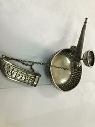 1950s Antique Omani Smoking Set Pipe Ashtray Cylinder Container Oman 925 Silver