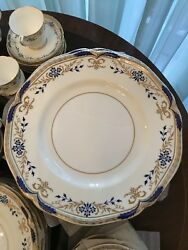 69-piece Minton Cornflower Blue And Gold China Dinner Service Set For 8
