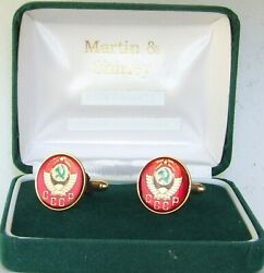 Russia Cufflinks Made From First Cccp Russian Coins In Red And Gold And Colours 19mm