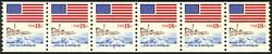 1891 -18c Flag And Shore Rare Plate 6 Vf/nh Strip Of 6