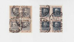 Italy 1927/8 Sc 192 Two Block Of Four,used,incl.one Variety   O1191