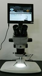New 6.5x-53x Trinocular Industrial Stereo Microscope + 5mp Tablet Camera Package