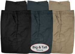 Big And Tall Men's Casual Cargo Pants With Side Elastic By Full Blue Sizes 42 - 68