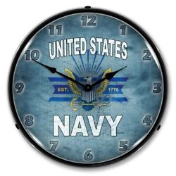 Retro Style United States Navy Led Lighted Backlit Wall Clock Man Cave Sign New